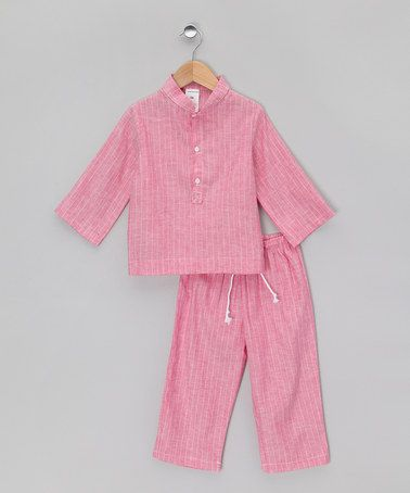 Take a look at this Pink Mandarin Collar Long Pyjamas - Infant, Toddler & Kids by La Piyama on #zulily today!