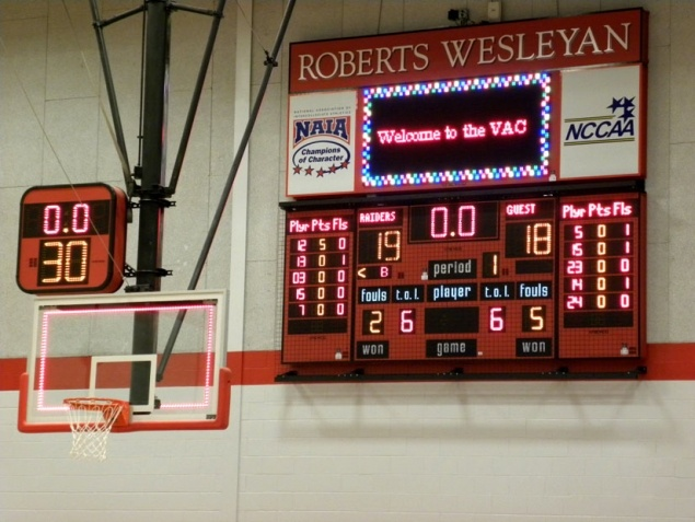 Full-feature scoreboard with player stat panels and a 4' X 8' Full Color LED Message Center ...