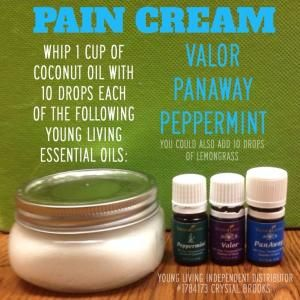 DIY Pain Cream - Whip 1 cup of coconut oil with 10 drops of each of the following Young Living Essential Oils: Peppermint, Valor, and PanAway (you could add lemongrass too). by ZaraFee