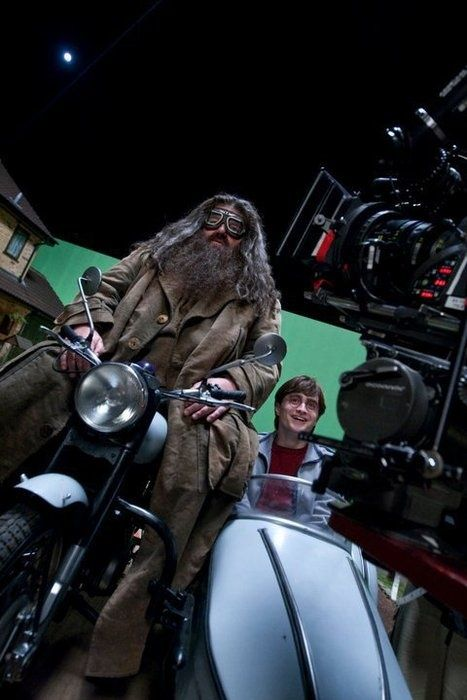 Robbie Coltrane as Hagrid with Daniel Radcliffe as #HarryPotter behind the scenes on The Deathly Hallows Part One (2010).