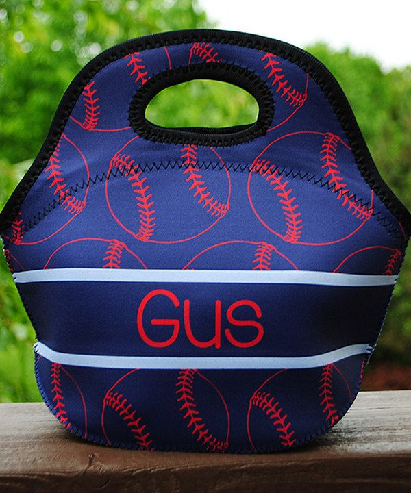 Look at this Navy & Red Baseball Personalized Lunch Bag on #zulily today!