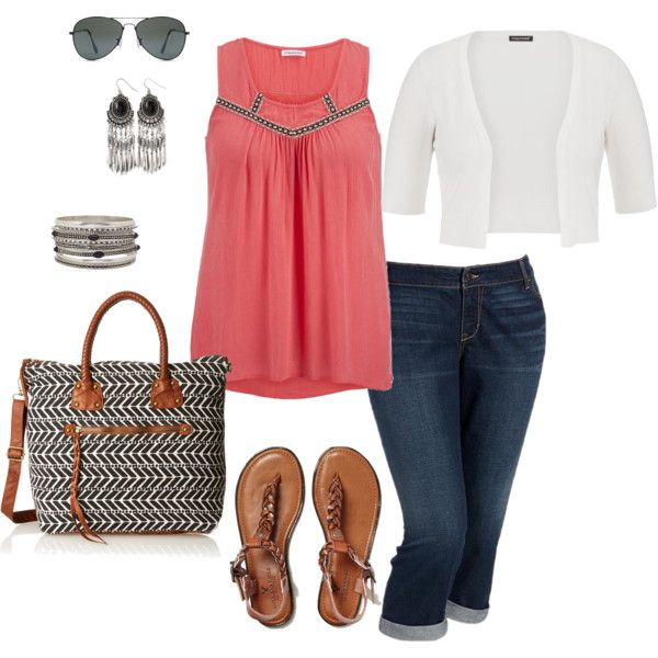 Coral Tank Top- Plus Size Outfit by boswell0617 on Polyvore featuring Old Navy, American Eagle Outfitters and Forever 21