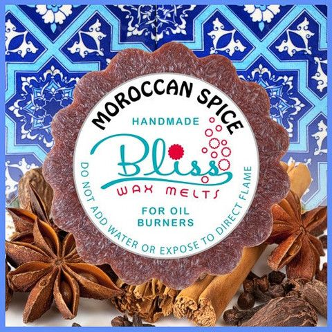 Mr Gingerbread man comes to mind with the Moroccan spices wax melt scent. This scent has a rejuvenating blend of cinnamon, warm ginger and spicy clove aromas that quickly raise feelings of comfort and joy