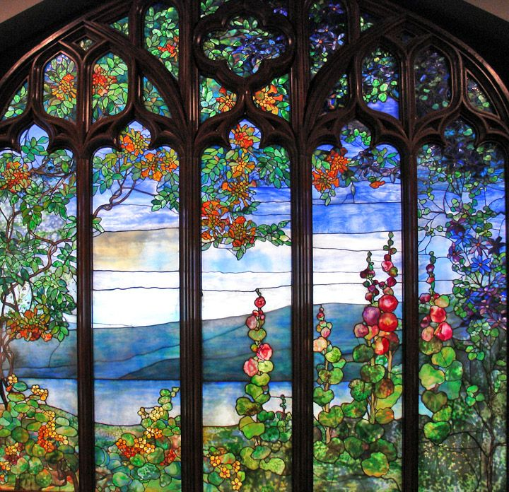 Window with Hudson River landscapes from Rochroane. U.S., Corona, New York  Tiffany Studios, Louis Comfort Tiffany, 190