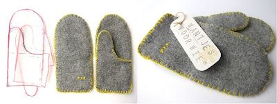 simple 3-pieced pattern for recycled sweater mittens (pretty contrast stitching)