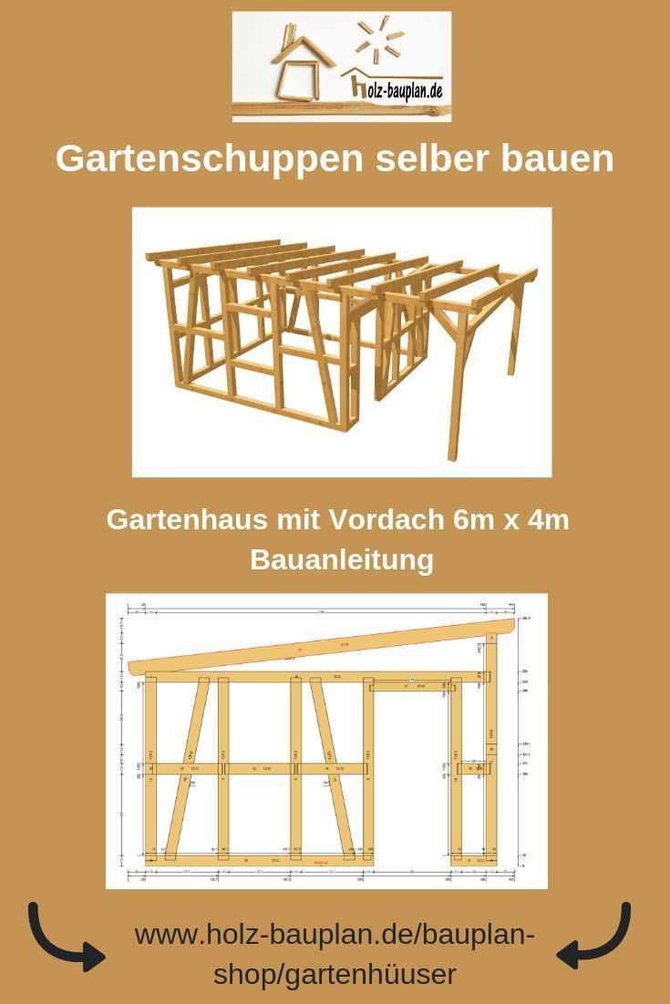 Fachwerkhaus Mit Vordach Bauplan Als Pdf Als Download Geratehaus Gartenhaus Werkstatt Selber Bauen Bauplan N House Blueprints Tree House Plans Shed Homes