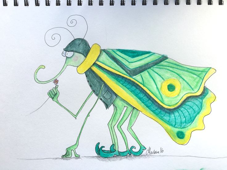 Insect with shoes. A very rare species living in Vejle Ådal. They have long arms and wears a vest. Water cooler pencil drawing by Marlene Jørgensen.