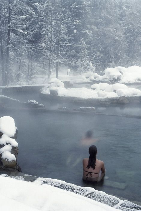 Onsen in Sapporo, Japan. That's looks so awesome to enjoy a hot spring in winter, with snow all round you.
