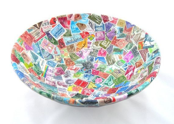 """""""POSTAGE STAMP BOWL"""" by 'BOMBUS' This is a hand decoupaged bowl using a collection of old stamps from all over the world. http://www.etsy.com/shop/Bombus?ref=pr_shop#"""
