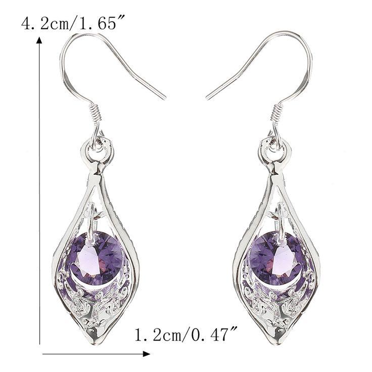 Elegant Silver Plated Purple Zircon Pandent Gemstone Water Drop Earrings Jewelry for Women