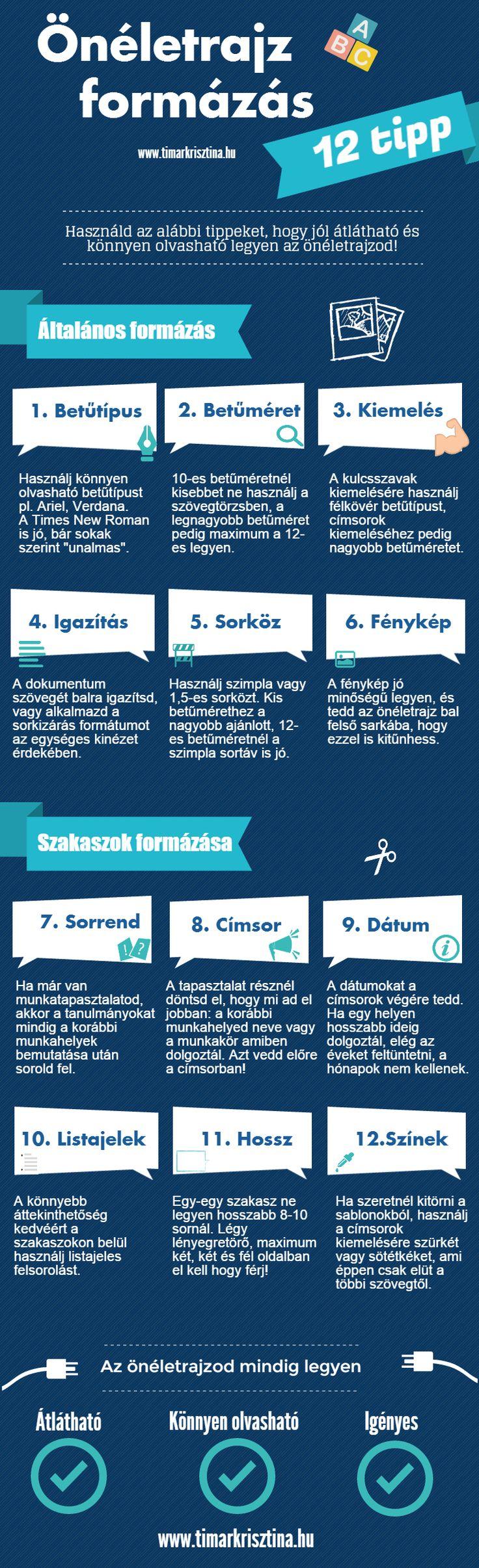 Hogyan legyen az önéletrajzod jól átlátható és könnyen olvasható? Kövesd ezt a 12 önéletrajz formázási tippet és a HR-esek kedvence leszel. #infografika #infographic #önéletrajz #cv #resume