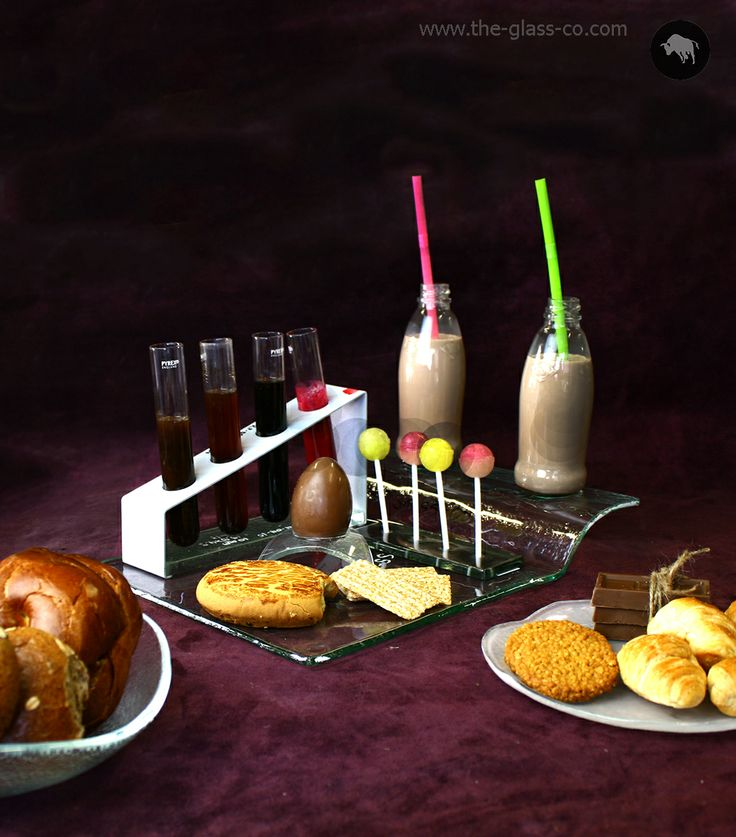 Contemporary breakfast set with plates, bowls, condiments stands and glass tray by Glass Studio www.the-glass-co.com