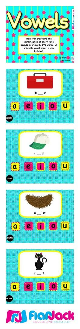 "Vowels Smart Board Game - In this Smart Board game, students touch the correct short vowel in CVC and CVCC words. If they're correct, the vowel will wiggle and dance! This game is kindergarten common core based and includes a download for a printable assessment worksheet that contains the standard(s) covered and an ""I Can"" statement. ($)"