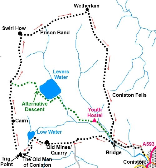 Lake District walk The Old Man of Coniston and Wetherlam - sketch map