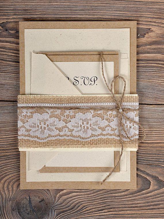 Burlap Lace Wedding Invitation Country Wedding by DecorisWedding, $5.00