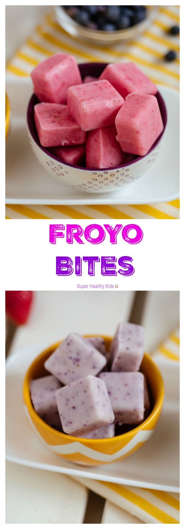 FOOD - FroYo Bites. We love fruit flavored frozen yogurt, but don't love all the sugar. This is the perfect solution - FroYo Bites! So easy to make with only two ingredients! http://www.superhealthykids.com/froyo-bites/
