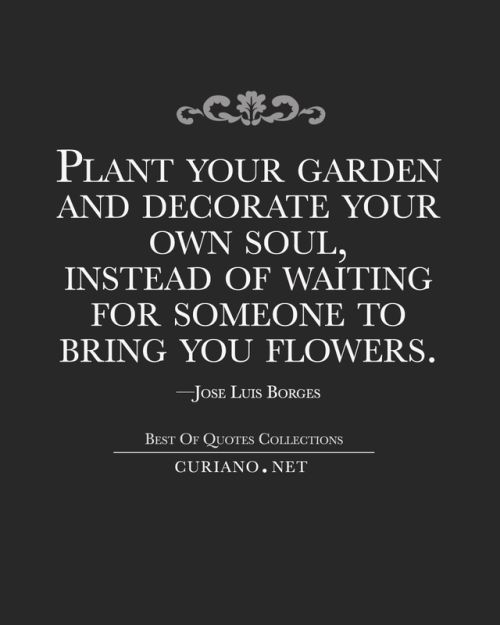 "curianobestquotes: "" Plant your garden and decorate your own soul, instead of waiting for someone to bring you flowers. —Jose Luis Borges """