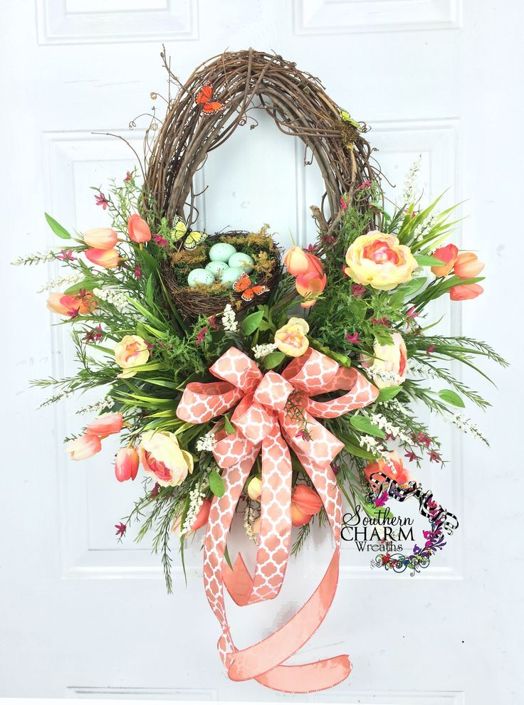 Oval Silk Flower Spring Wreath with Nest and Butterflies in Peach Tulips by www.southerncharmwreaths.com #oval #spring #wreath