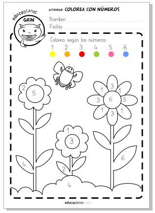 Colorea con números primavera