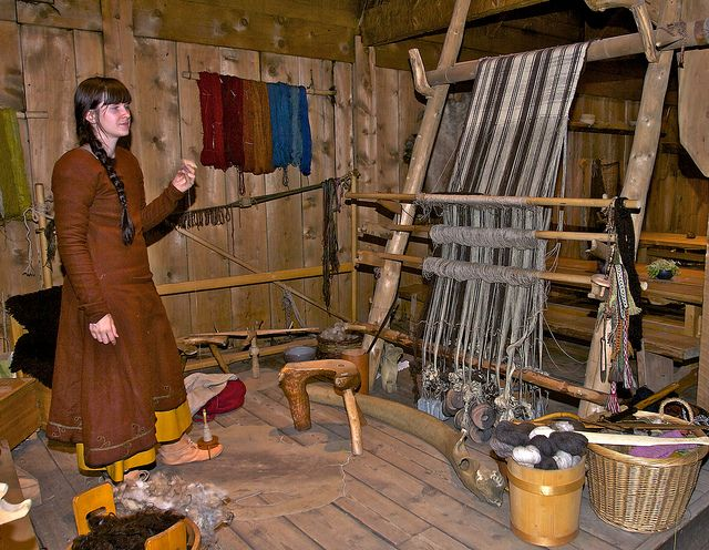 Textile room with ww loom at Lofotr Viking Museum in Norway