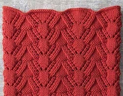 Красивый узор с волнистым краем для вязания спицами.