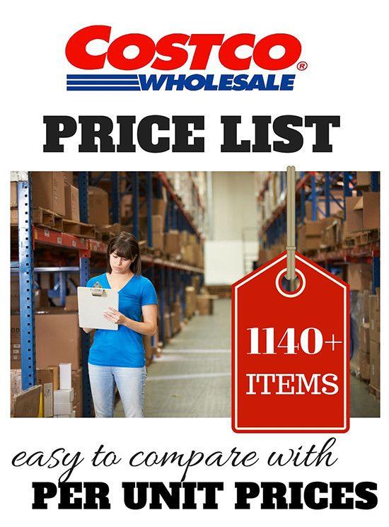 Costco Price List for 2016