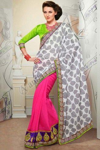Pas cher saris en ligne Conception No.6434 Prix: 64,90 € tissu:Coton jacquard avec feuille d'impression, jupe jute Soie http://www.andaazfashion.fr/womens/sarees/off-white-and-pink-jacquard-saree-dm6434.html