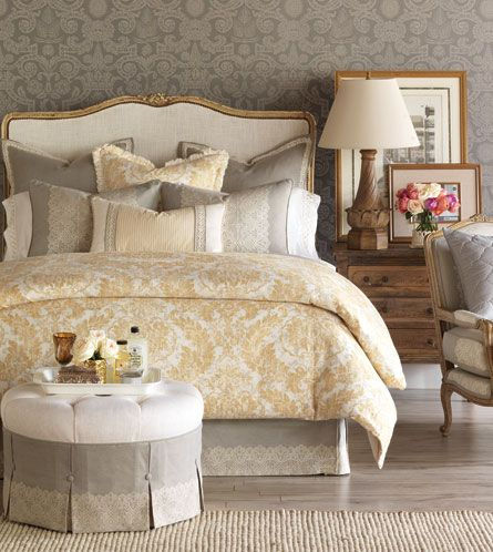 Sabelle Bedset from Eastern Accents Pretty gray and yellow  bedding  available  through Susan Cooke Interior Design Group, San Ramon, CA,