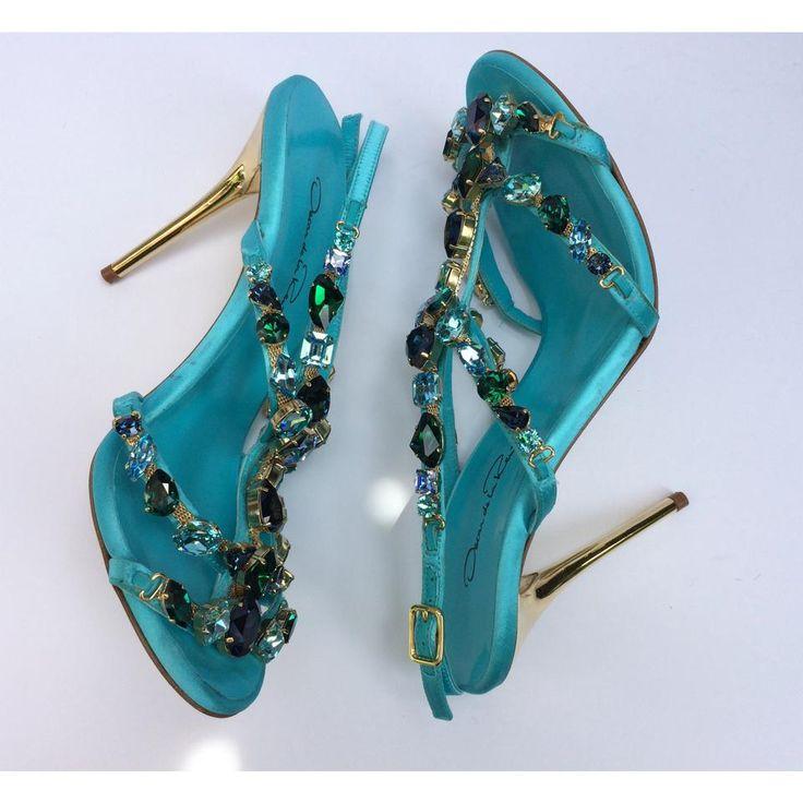 Oscar de la Renta New! Crystal Embellished Satin Imogene Turquoise Sandals on Sale, 66% Off | Sandals on Sale