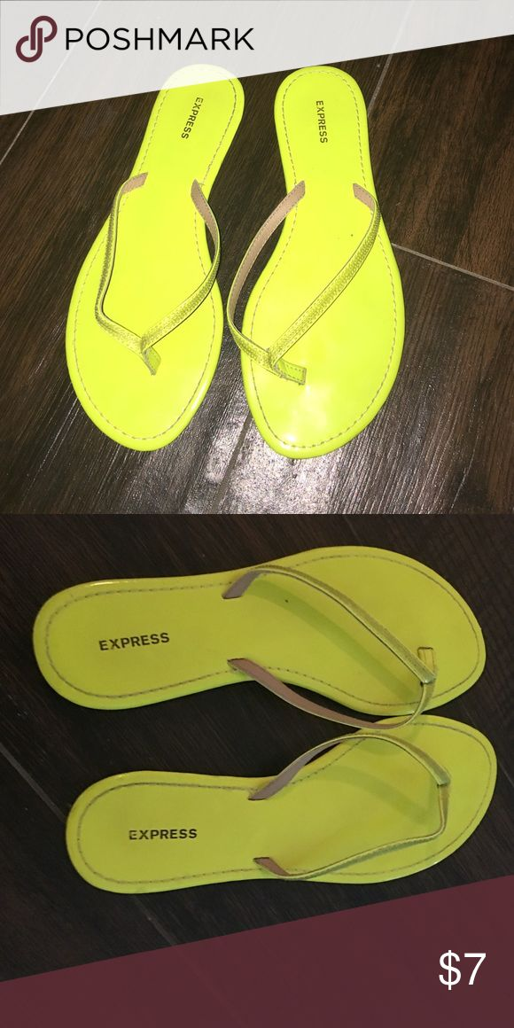 Express bright yellow flip flops Yellow flip flops, worn 1 time Express Shoes