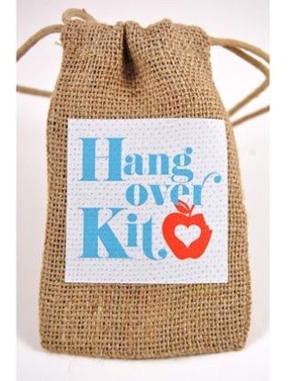 Cute idea for Wedding Party Gift, OOT Gift Bags or a Wedding Favor.  Kit can include: Advil, Alka Seltzer, Earplugs, a Sleep Mask and Band-Aids.