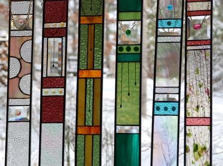 Handmade Teal STAINED GLASS Panel the perfect addition to your home or cottage....