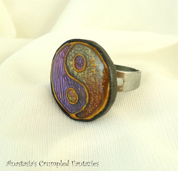 Yin yang purple yellow orange gold polymer by CrumpledFantazies