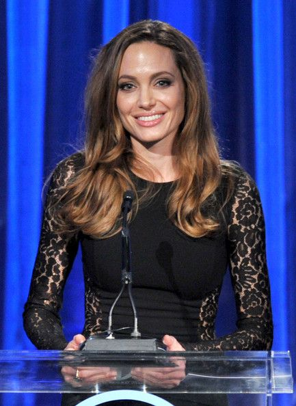 Producer/director/writer Angelina Jolie accepts the The Stanley Kramer Award onstage during the 23rd annual Producers Guild Awards at The Beverly Hilton hotel on January 21, 2012 in Beverly Hills, California.
