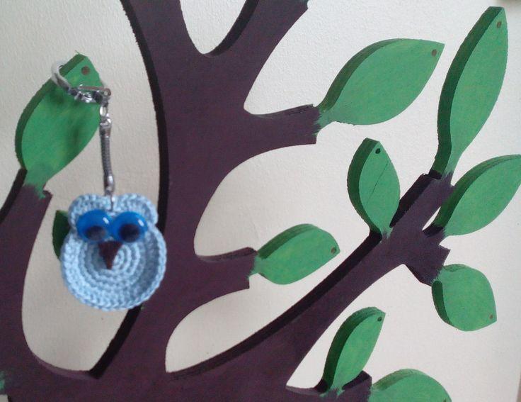 Chouette bleue vraiment trop chouette. : Porte clés par pamamoune