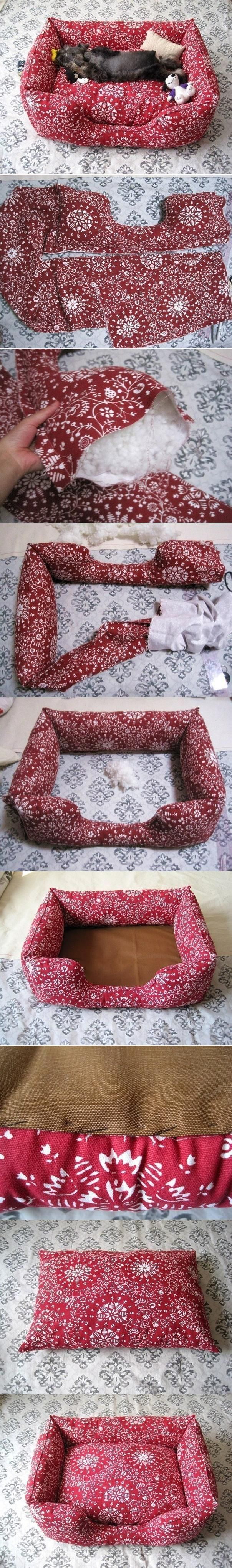 DIY Fabric Pet Sofa DIY Fabric Pet Sofa- I wish I could make the puppies something like this but they would eat it in days.