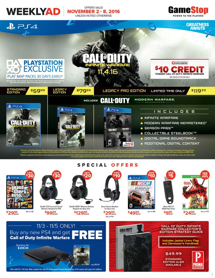 Game Stop Weekly Ad November 2 - 8, 2016 - http://www.olcatalog.com/game-stop/game-stop-weekly-ad.html