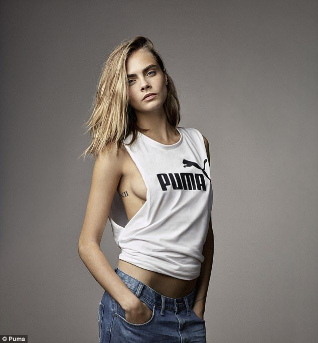 Flashing the flesh: Cara Delevingne showed off her sideboob in a new shot for the PUMA Do You Campaign