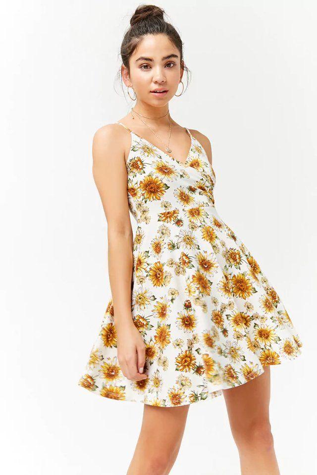 a390755e4c Product Name Sunflower Print Cami Dress