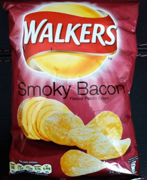 Walkers Crisps - in Smoky Bacon flavor.  These are SOOOO good!  Mostly found in the UK, though... :(