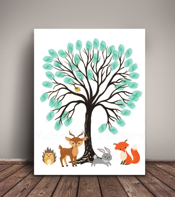 Woodland Baby Shower Guest Book Alternative. Thumbprint Tree for Woodland Nursery