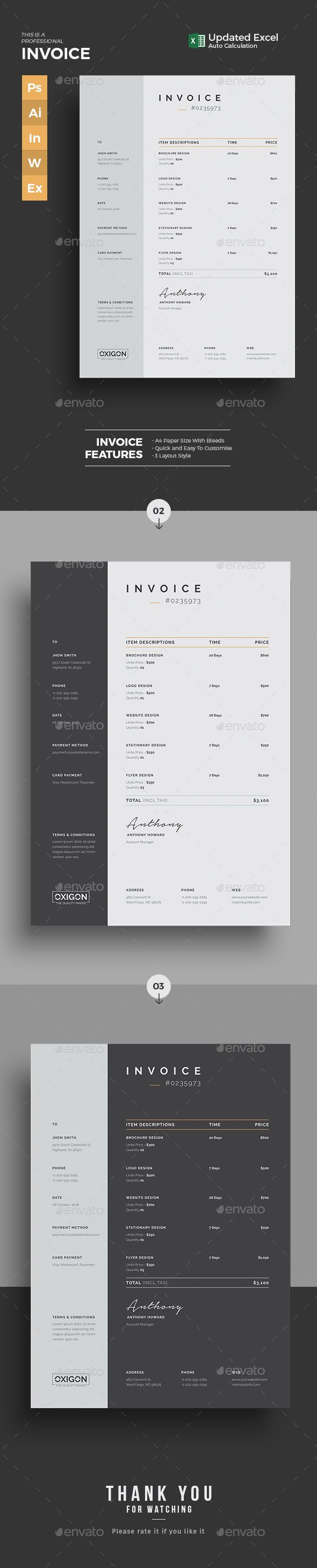 Invoice Clean Invoice Word & Excel Template. Use this Invoice for personal, corporate or company billing purpose. This Simple Invoice will help you to create your invoice very quick and easy. Elegant Invoice Design will convey your brand identity as well as Professional Invoice look.