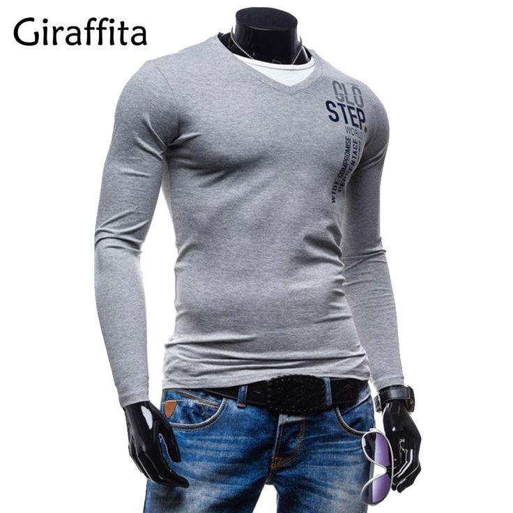 Giraffita Hot 2017 New Autumn Fashion Brand V-Neck Slim Fit Long Sleeve Shirts Men Trend Casual Mens Shirts Korean Shirts