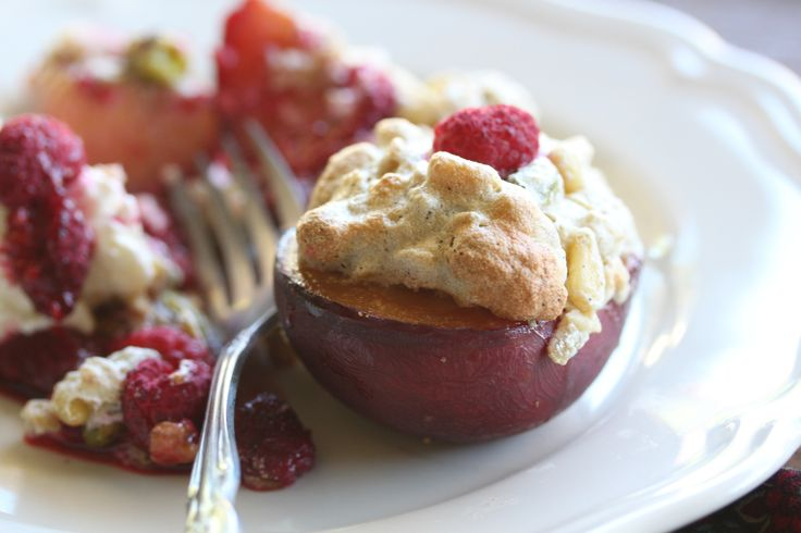 Roasted Stone Fruit with Oat and Nut Meringue #WhatsForBreakfast? ebook available at http://tenina.com/store
