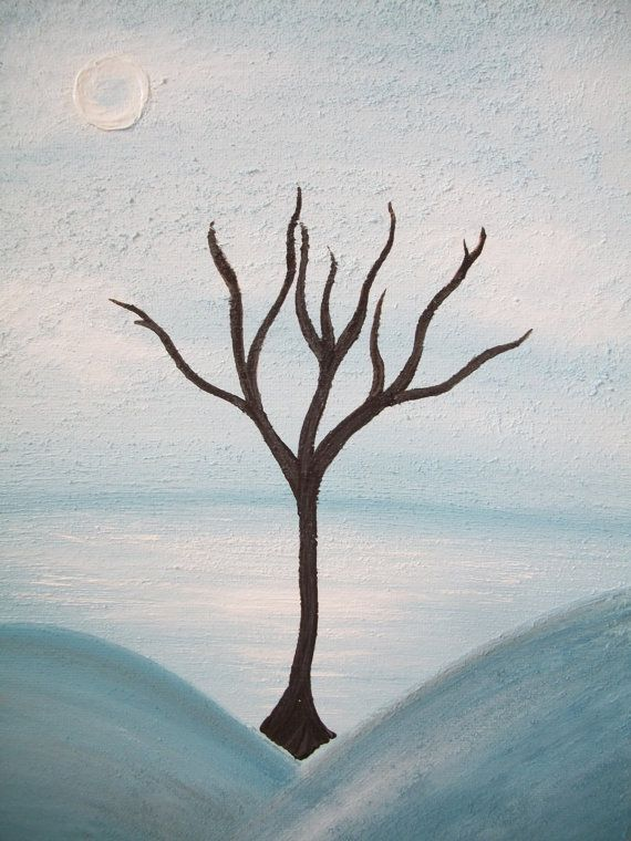 9 X 12 original textured painting Winter Tree by SullivanFarms, $18.00