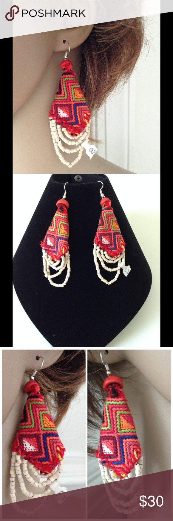 EMBODIED TAPESTRY CONE CASCADE BOBO EARRINGS Guatemalan's hand made tapestry 100% cotton yield- thread multicolor Tapestry cone & white beads Cascade boho hippie style earrings, fish hook earring claps, nickel free unknow  Jewelry Earrings
