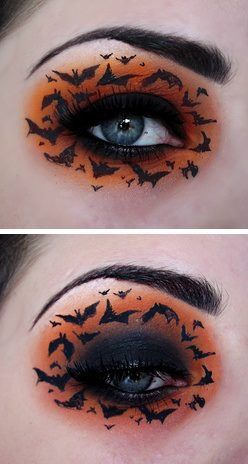 black orange bat eye makeup excellent for halloween i would do a black and orange combo inspired from this no bats though they are cute - Eyeshadow For Halloween