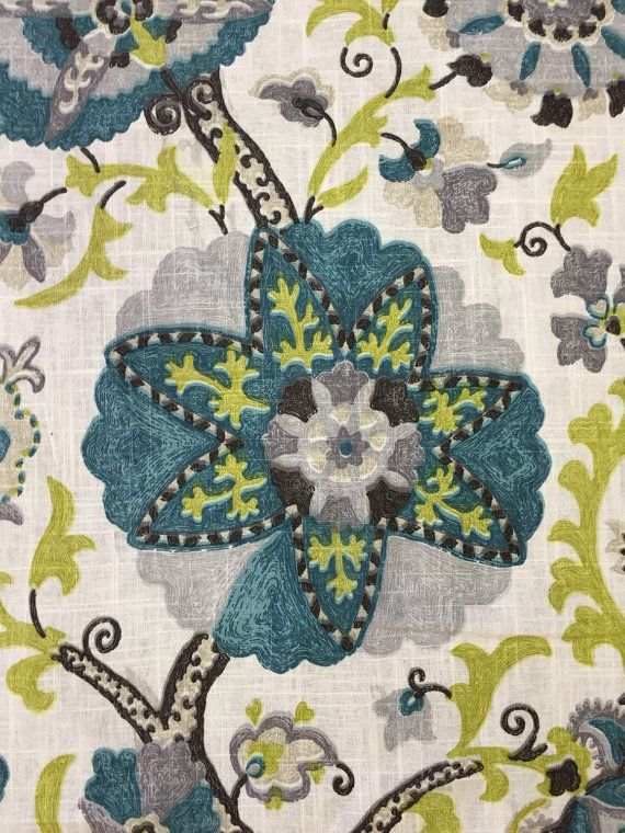Turquoise and Green Suzani - Paisley - P Kaufmann - Drapery fabric - Upholstery Fabric
