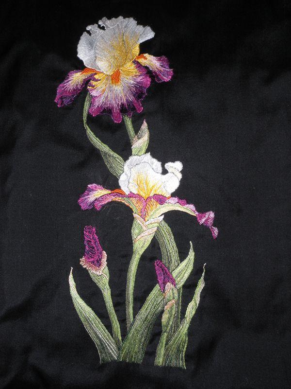 Silk wmbroidered irises