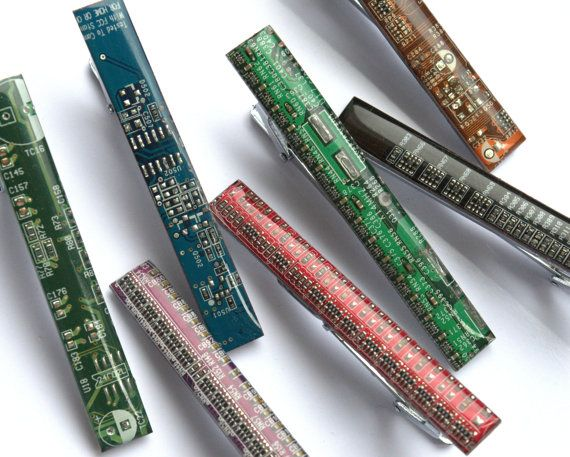 Tie bar  Geeky Tie clip  Computer tie bar   circuit board